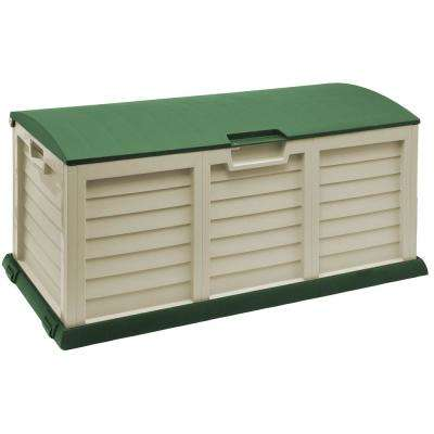 103 Gal. Plastic Beige/Green Deck Box with Dome Lid