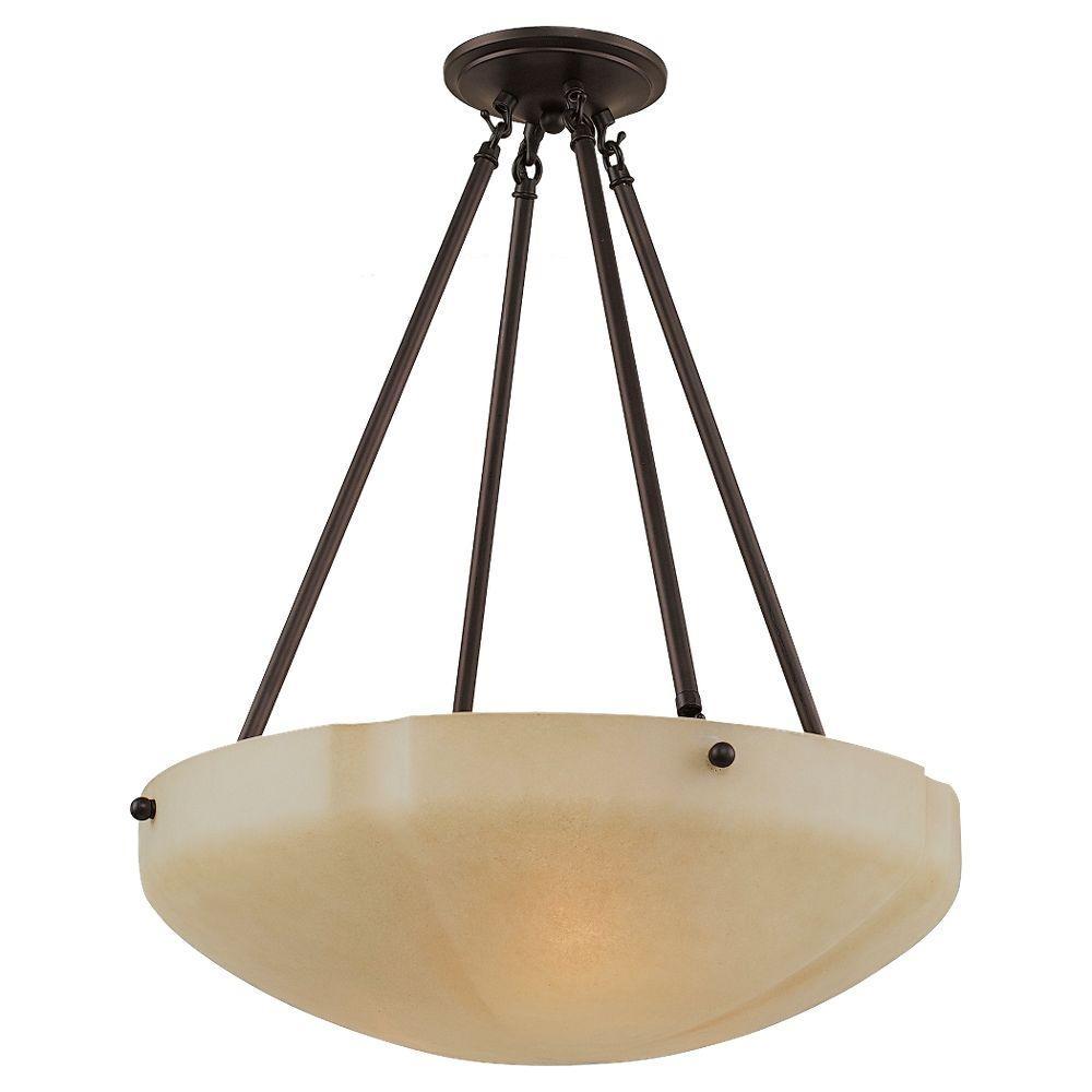 Sea Gull Lighting Century 3-Light Heirloom Bronze Semi Flush Fixture-DISCONTINUED