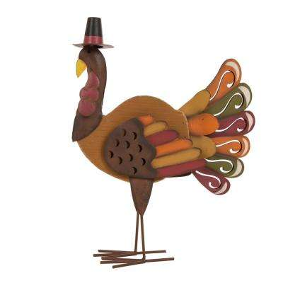 18.11 in. H Iron/Solid Wood Turkey Decor