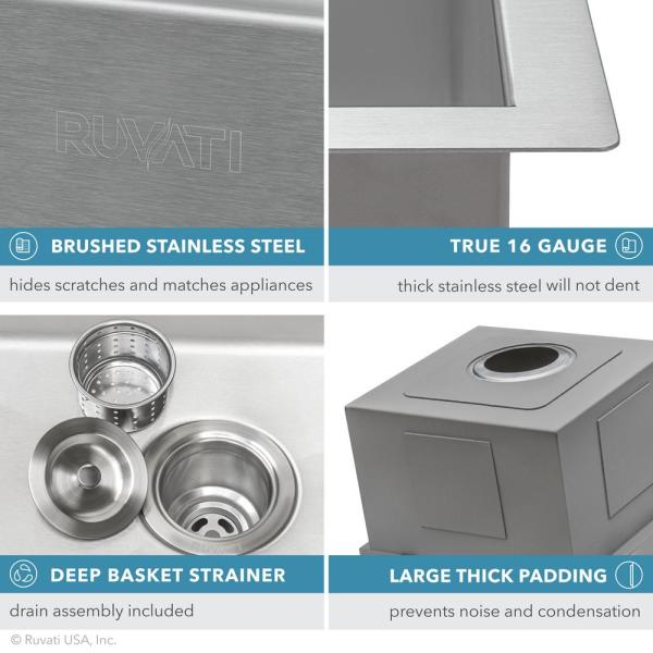 Ruvati Workstation Drop In Stainless Steel 15 In X 20 In Topmount Bar Prep Rv Kitchen Sink 16 Gauge Single Bowl Rvh8210 The Home Depot