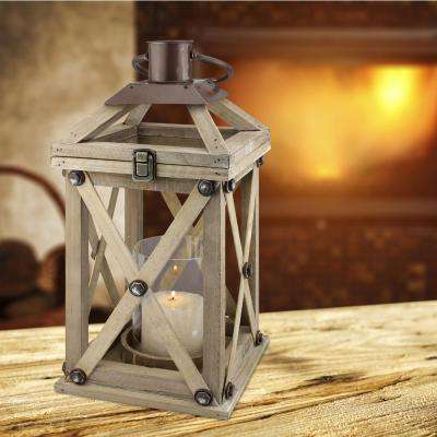 Brown Candle Operated Wooden Lantern