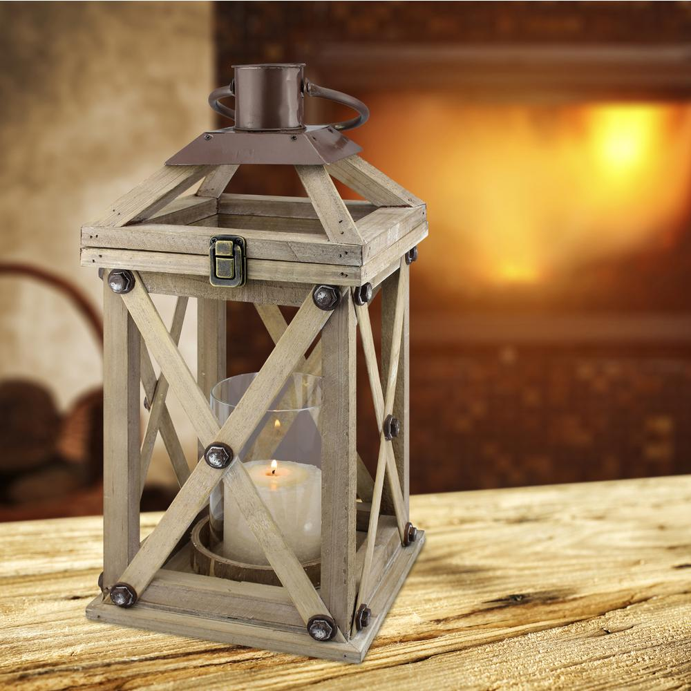 Stonebriar Collection Brown Candle Operated Wooden Lantern