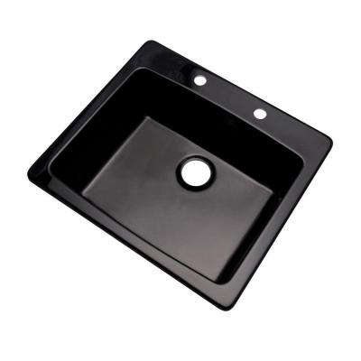 Northbrook Drop-In Composite Granite 25 in. 2-Hole Single Bowl Kitchen Sink in Black