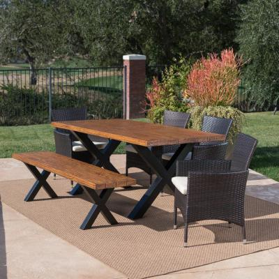 Eric Multi-Brown 6-Piece Polyethylene Wicker Outdoor Dining Set with Beige Cushions
