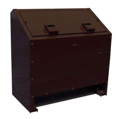 68 Gal. Metal Animal Proof Trash Can in Brown