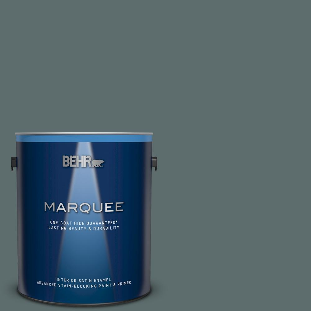 BEHR MARQUEE 1 gal. #PPU12-19 Mountain Pine One-Coat Hide Satin Enamel Interior Paint and Primer in One