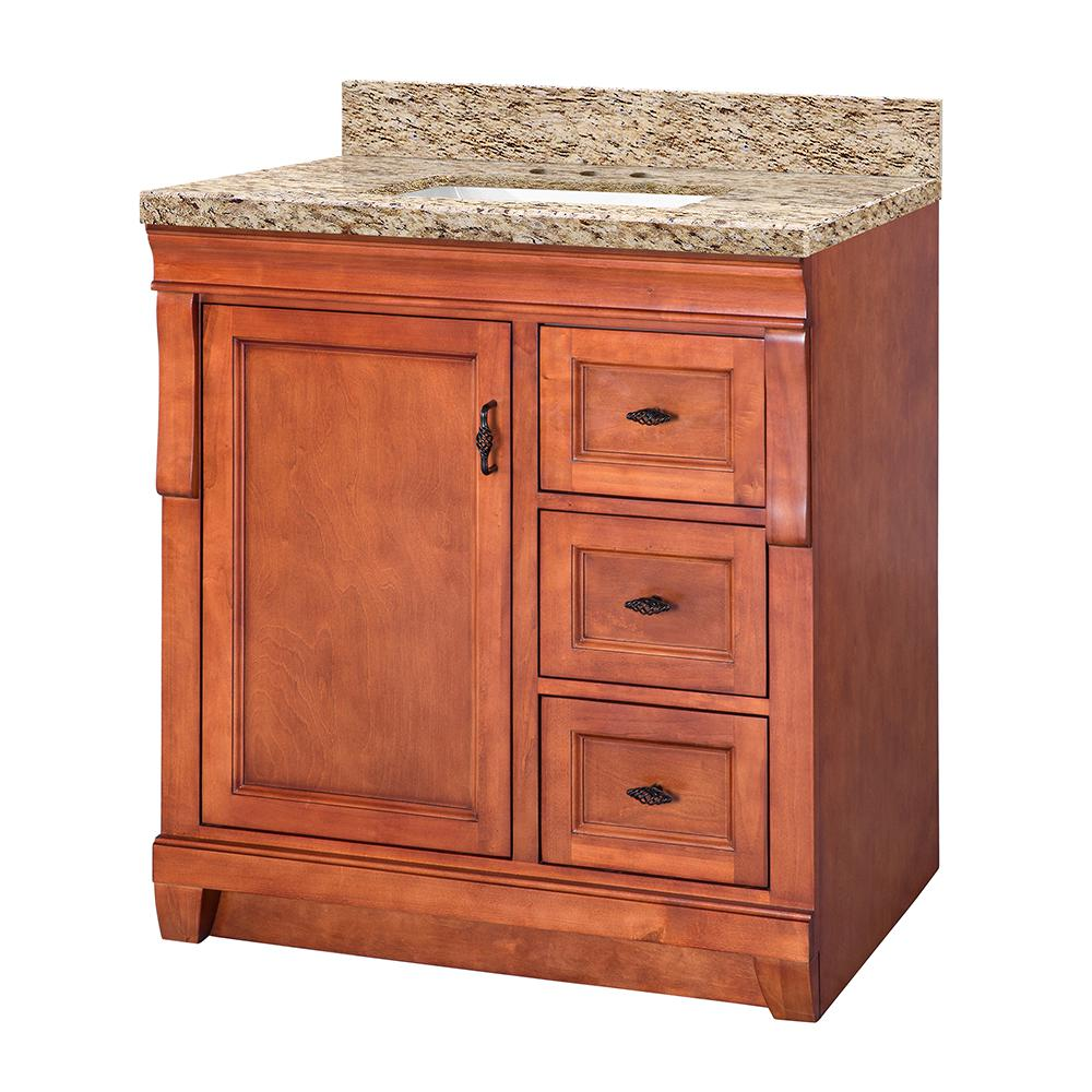 Home Decorators Collection Naples 31 in. W x 22 in. D Vanity in Warm Cinnamon with Granite Vanity Top in Giallo Ornamental and Sink in White