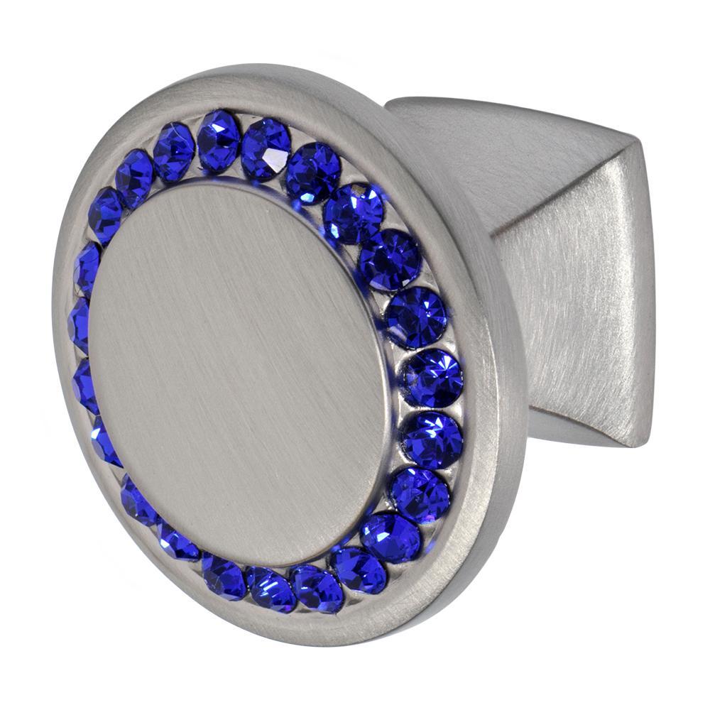 Isabel 1-1/4 in. Satin Nickel with Dark Blue Crystal Cabinet Knob
