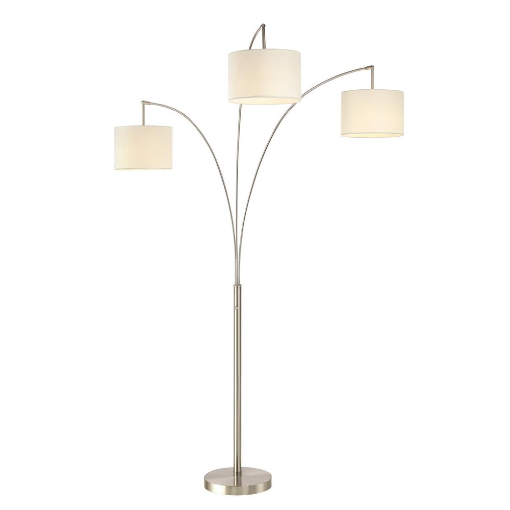 ARTIVA Lumiere Modern LED 3 Arc 80 In. Brushed Steel Floor Lamp With Dimmer
