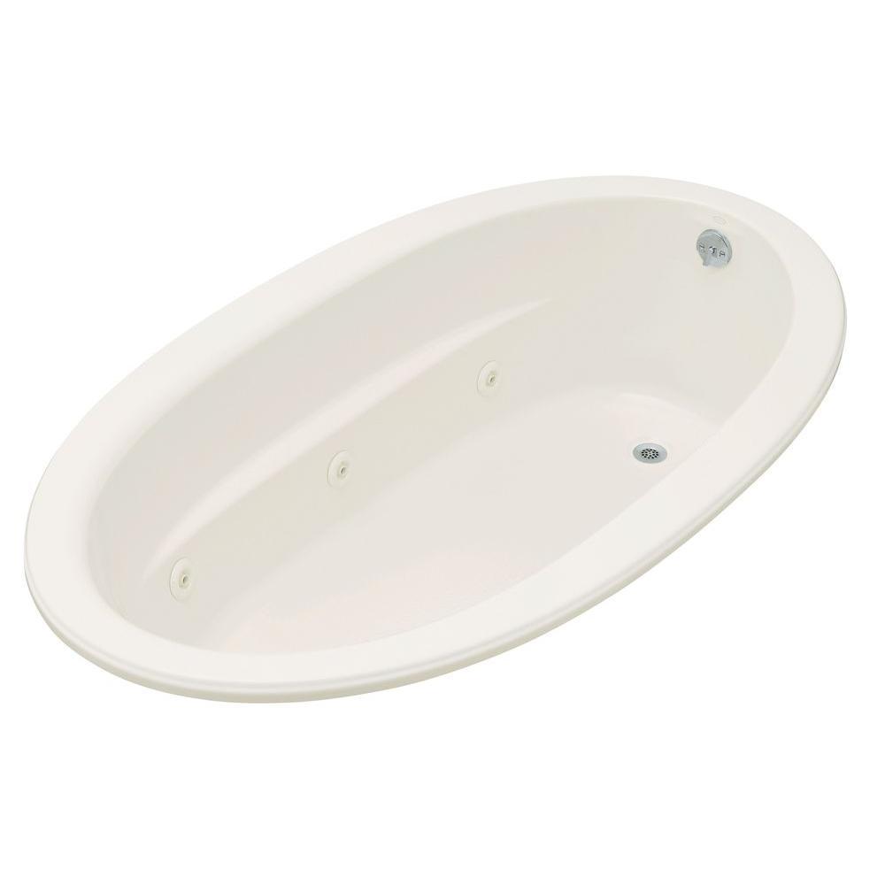 Sunward 6 ft. Acrylic Oval Drop-in Whirlpool Bathtub in Biscuit