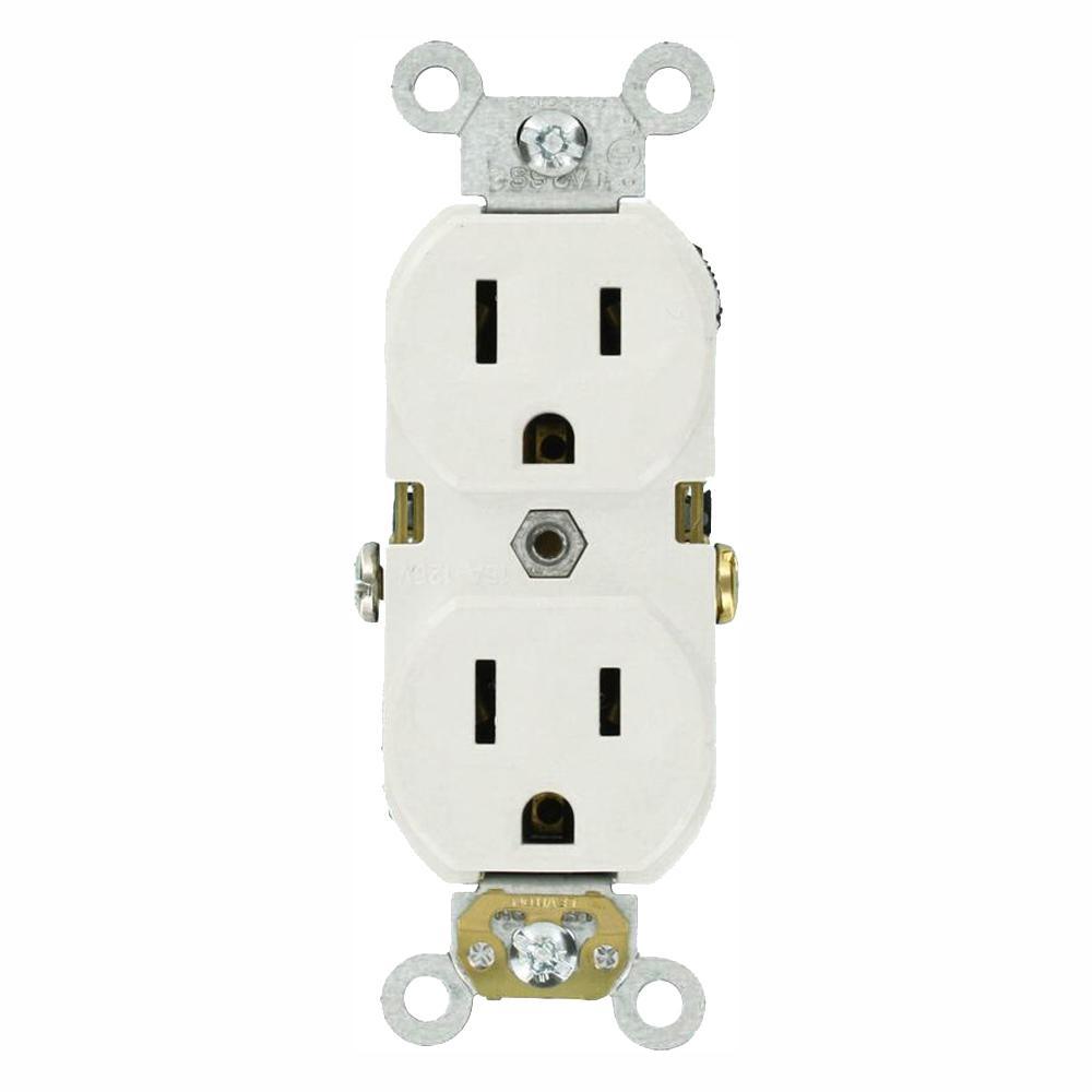 Leviton 15 Amp Commercial Grade Duplex Outlet, White (10 Pack)