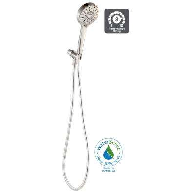Modern 6-Spray Handheld Showerhead Kit with Pause Feature in Brushed Nickel