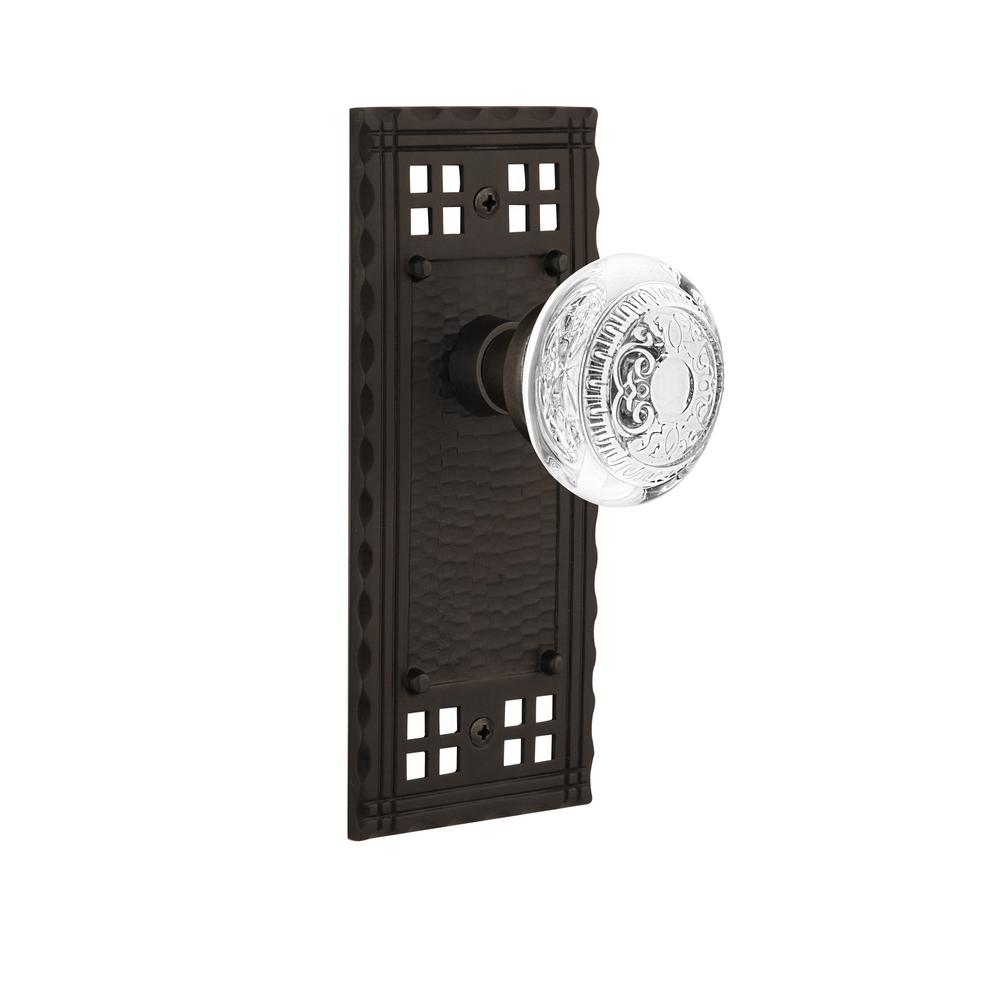 Craftsman Plate 2-3/8 in. Backset Oil-Rubbed Bronze Passage Hall/Closet Crystal