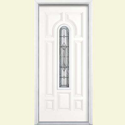 Providence Center Arch Primed Steel Prehung Front Door with Brickmold