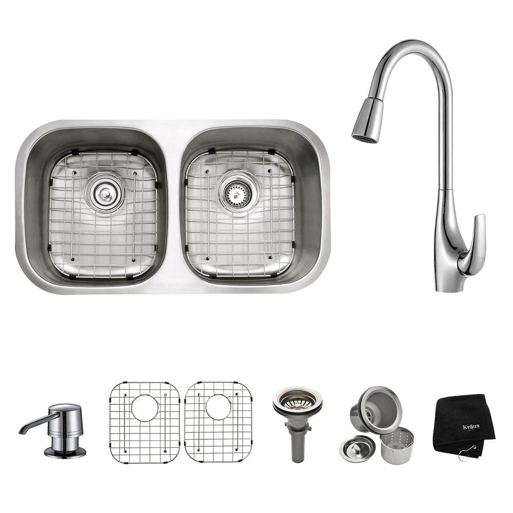 KRAUS All-in-One Undermount Stainless Steel 32 in. 50/50 Double Bowl ...