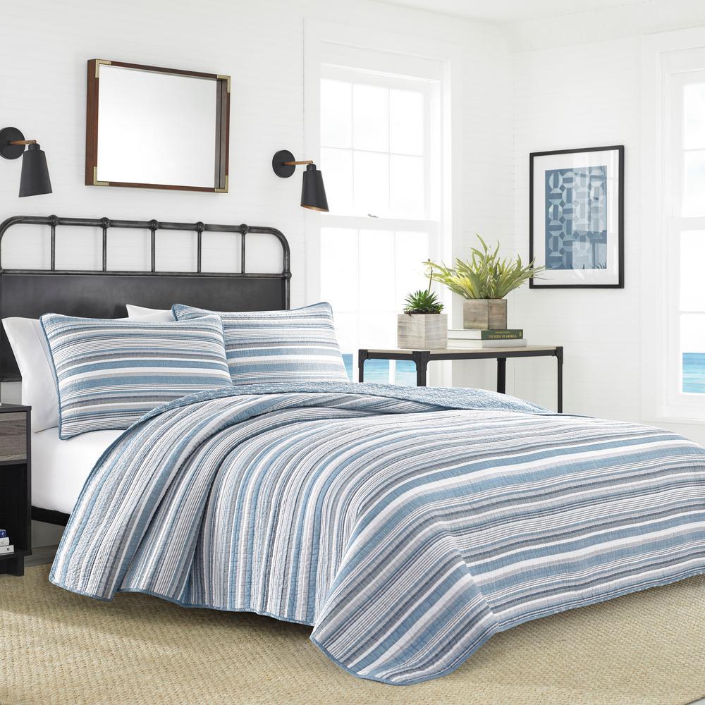 Jettison 3-Piece Blue Striped Cotton King Quilt Set