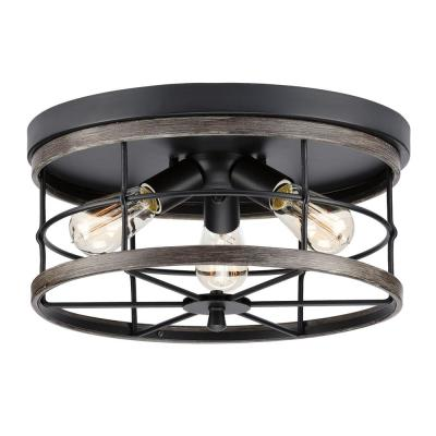 Fairforest 15.75 in. 3-Light Matte Black Flushmount with Aged Oak Accents