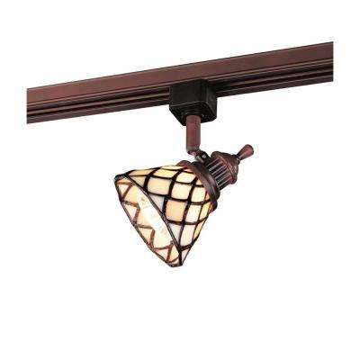 Oil-Rubbed Bronze Linear Track Head with Tiffany Shade