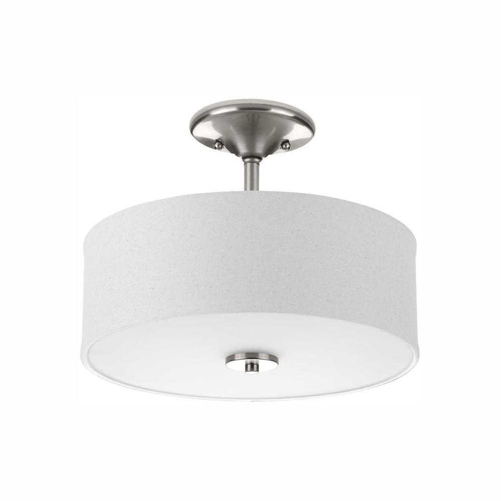 Inspire Collection 17-Watt Brushed Nickel Integrated LED Bedroom Semi-Flush Mount