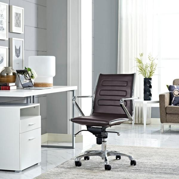 MODWAY Ascend Mid Back Office Chair in Brown EEI-2214-BRN