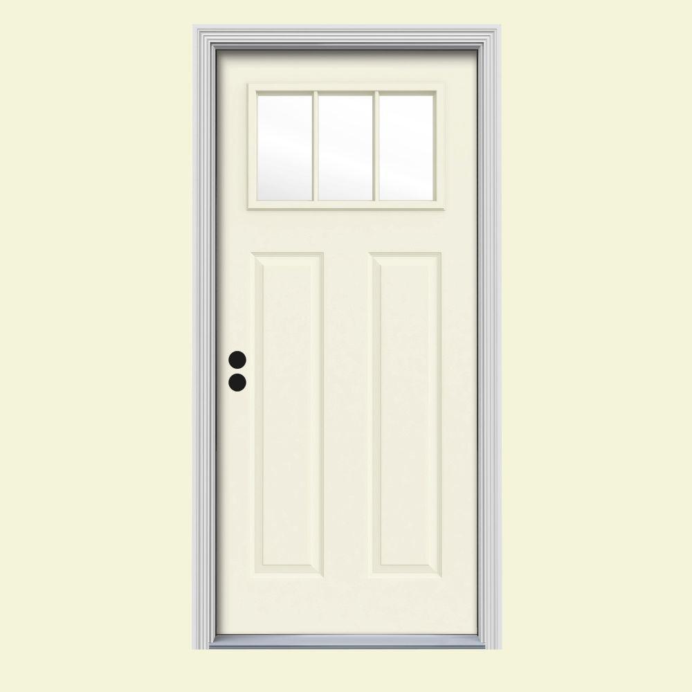JELD-WEN 32 in. x 80 in. 3 Lite Craftsman Vanilla Painted Steel Prehung Right-Hand Inswing Front Door w/Brickmould