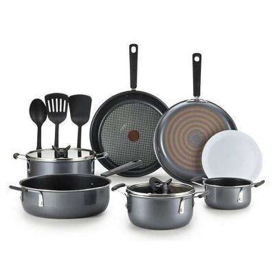 12-Piece Nonstick Cookware Set with Lids in Grey