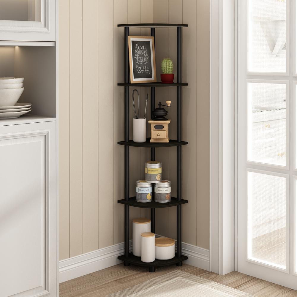 57.7 in. Black/Espresso Plastic 5-shelf Corner Bookcase with Open Storage