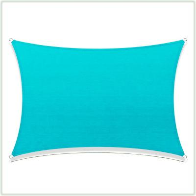16 ft. x 12 ft. 190 GSM Turquoise Rectangle Sun Shade Sail Screen Canopy, Outdoor Patio and Pergola Cover