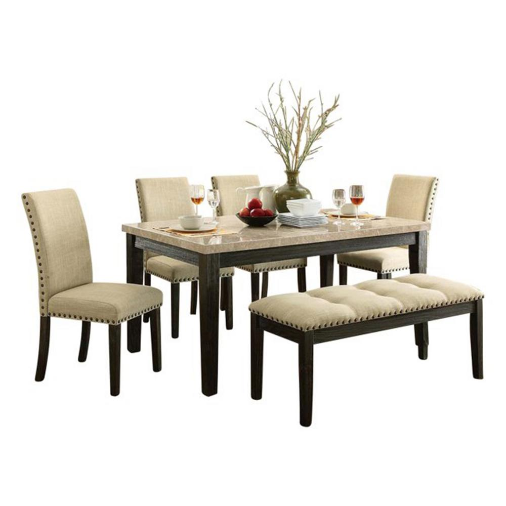 White And Black Dining Set: Oakland Living Beige, White And Black Indoor 6-Piece Faux