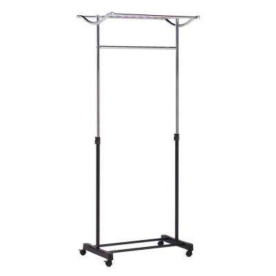 Steel Rolling Garment Rack with Top Shelf in Chrome/Black