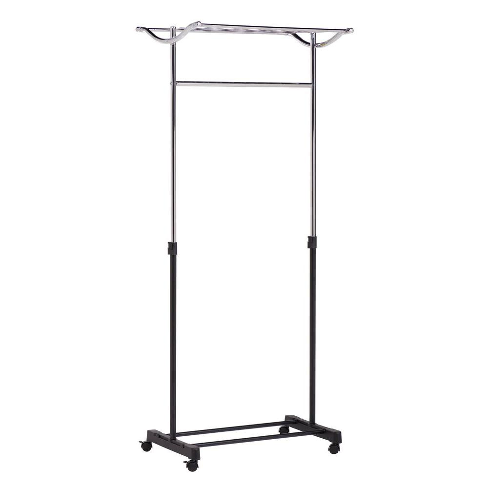 honeycando steel rolling garment rack with top shelf in the home depot