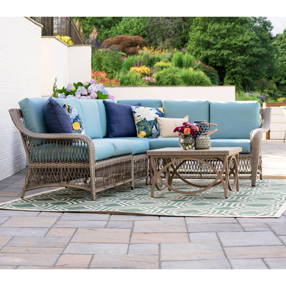 Excellent Leisure Made Birmingham 5 Piece Wicker Outdoor Sectional Set With Spa Blue Cushions Home Interior And Landscaping Ologienasavecom