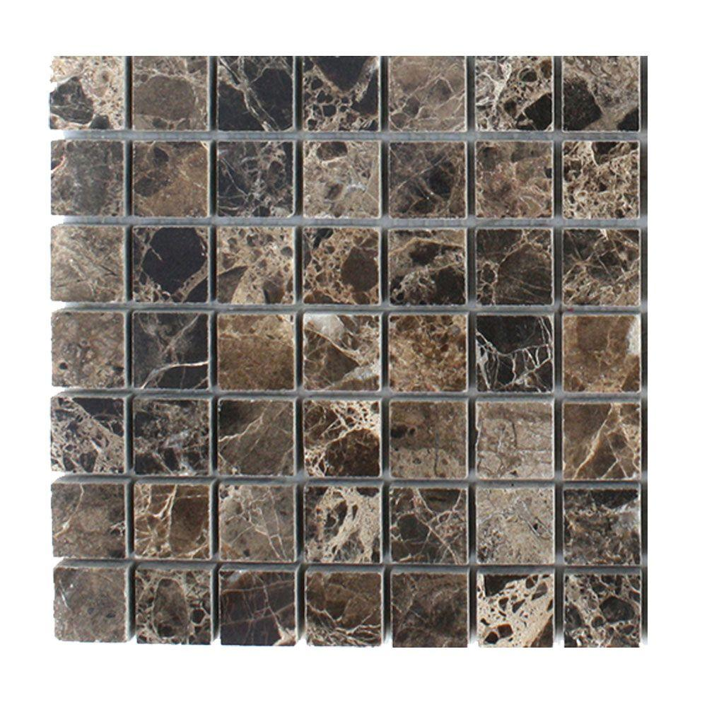 Dark Emperidor Squares Marble Mosaic Floor and Wall Tile - 3