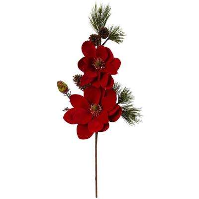 Indoor 36 in. Magnolia and Pine Artificial Flower (Set of 2)