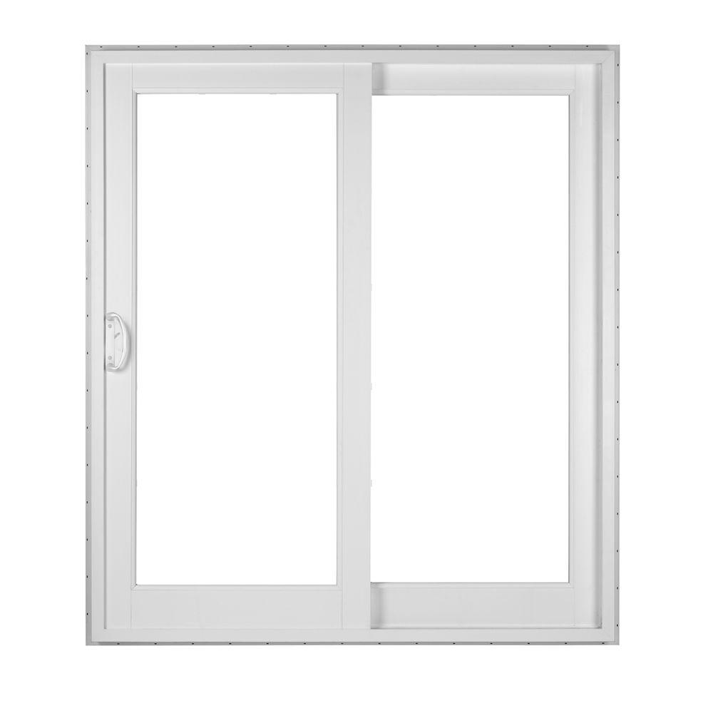Simonton white 2 panel french rail sliding patio door with for Sliding panel doors interior