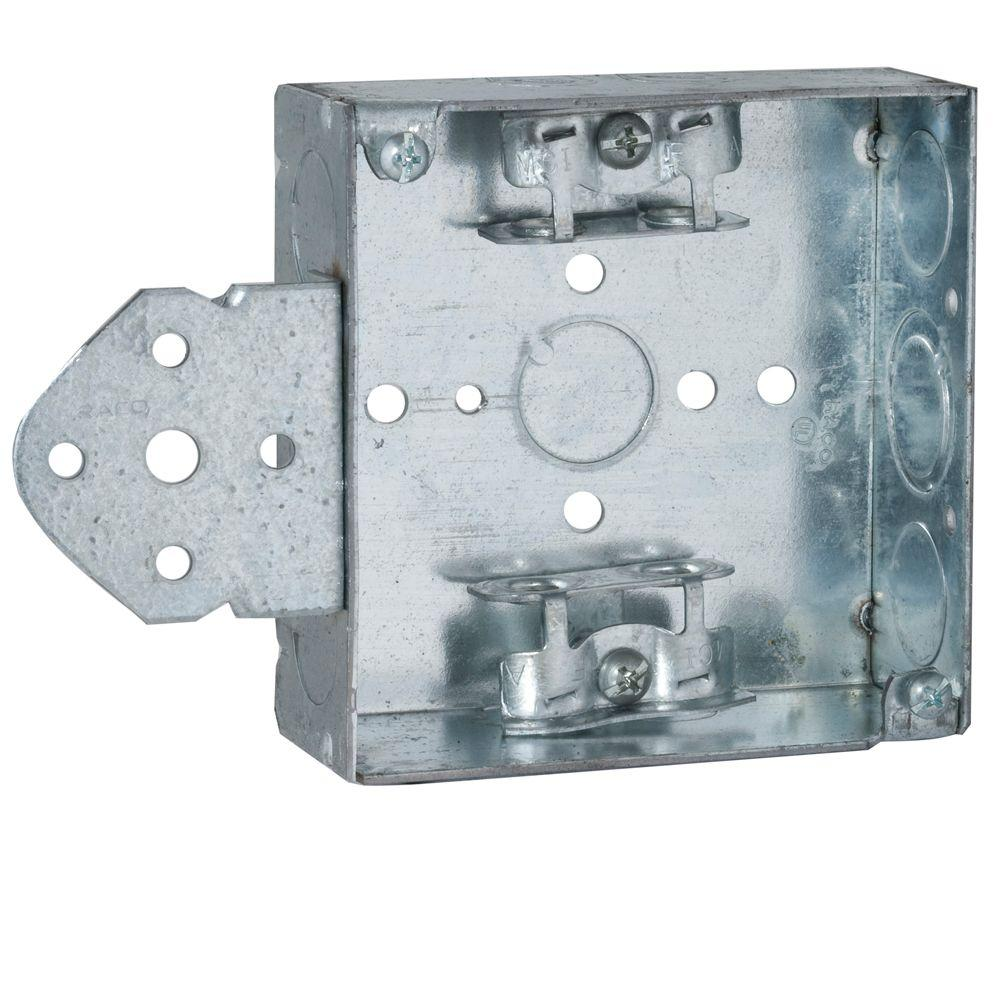 4 in. Square Box, Welded, 1-1/2 in. Deep with Armored Cable/Metal