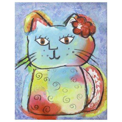 "28 in. x 22 in. ""Kitty Love"" Canvas Printed Unframed Wall Art"