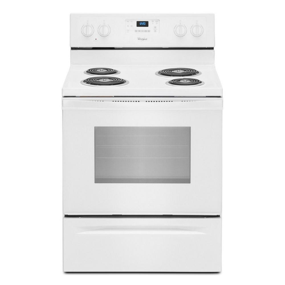 Whirlpool 4 8 Cu Ft Electric Range With Self Cleaning Oven In White Wfc310s0ew The Home Depot