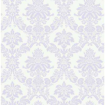 Kids Glitter Lilac and White Damask Wallpaper