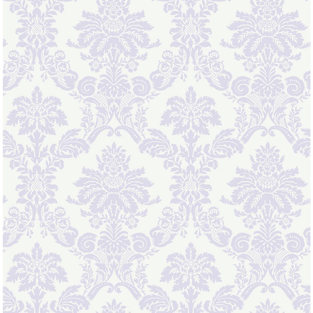 Wallquest Kids Glitter Lilac And White Damask Wallpaper Fa40909