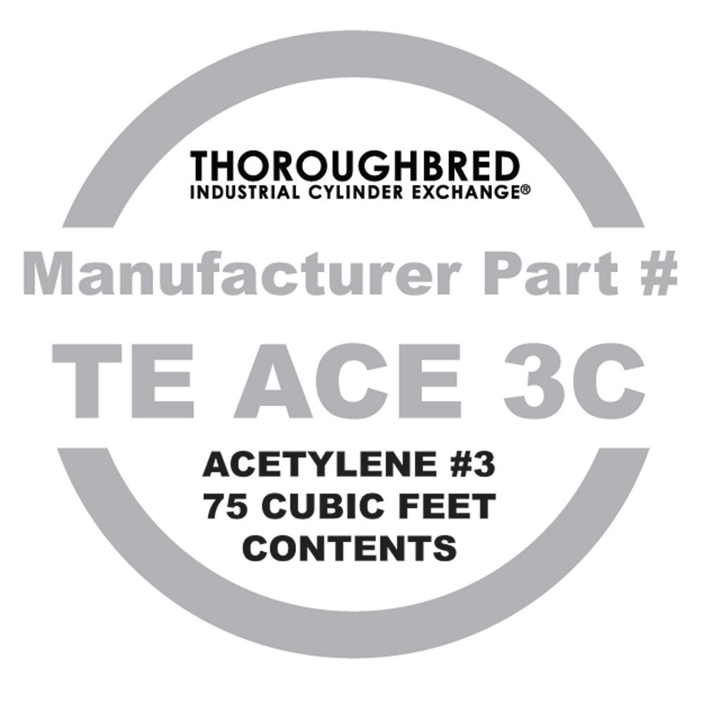 Thoroughbred Industrial Cylinder Exchange #3 Acetylene 750CF Contents Only