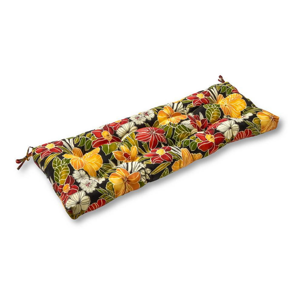 Aloha Floral Black Rectangle Outdoor Bench Swing Cushion