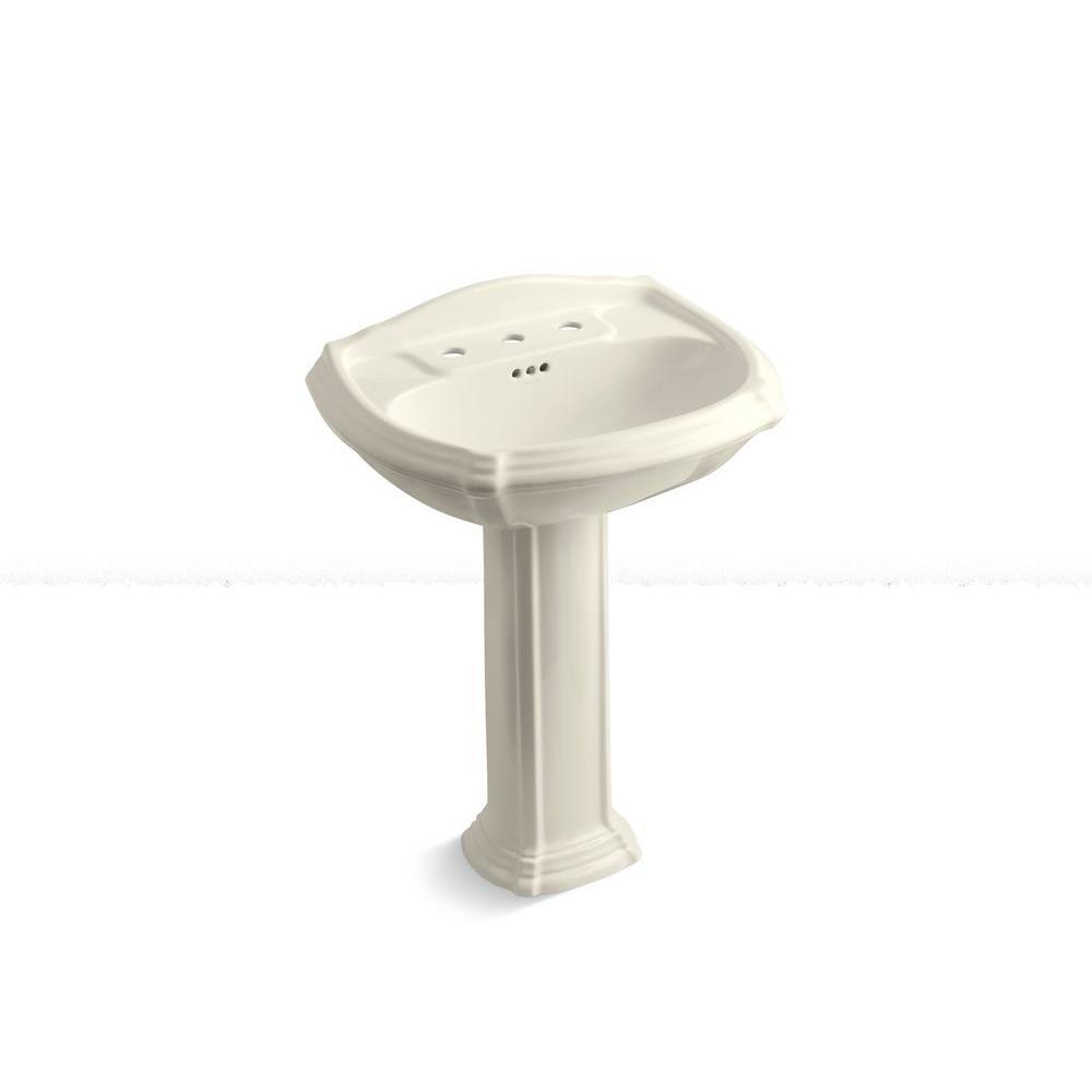 KOHLER Portrait Vitreous China Pedestal Combo Bathroom Sink in Almond with Overflow Drain