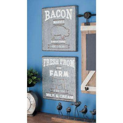 16 in. x 16 in. Farmhouse Fresh Food Wall Sign in Galvanized Iron