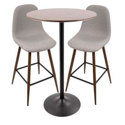 Pebble 3-Piece Light Grey Adjustable Height Pub Set