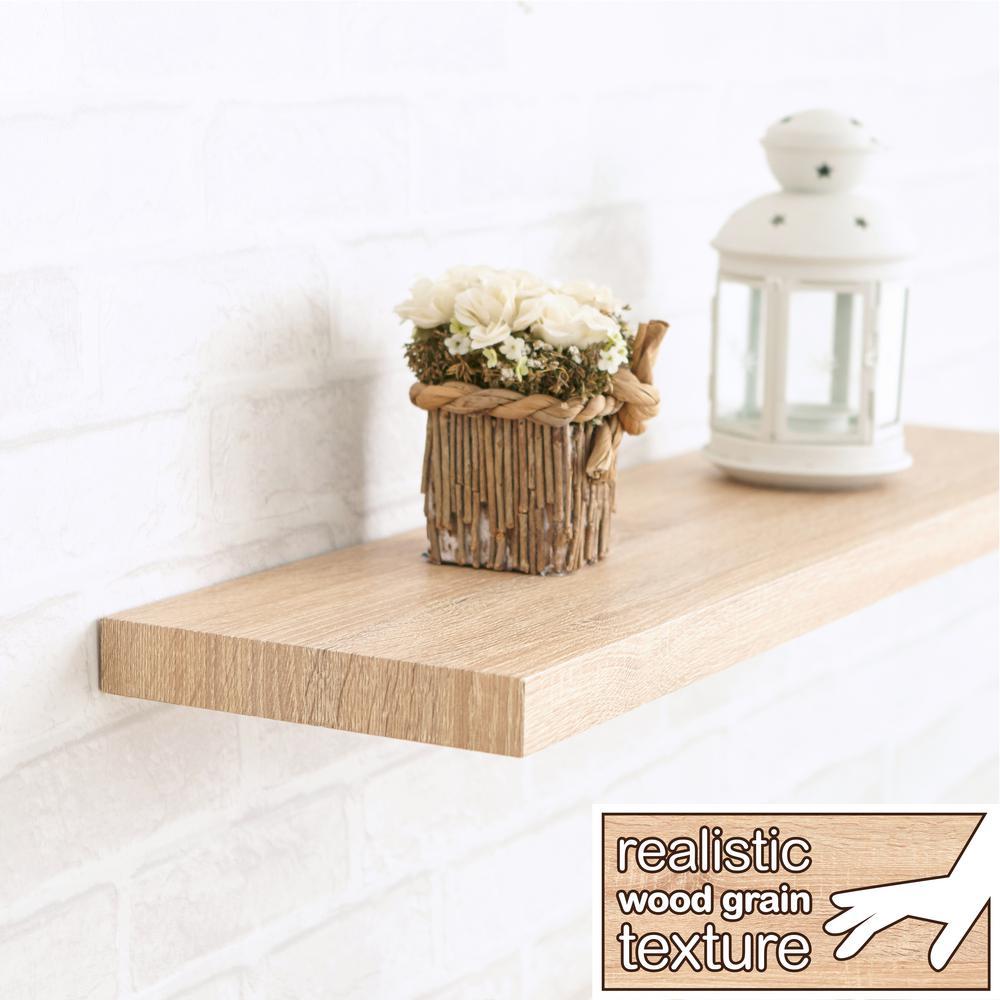 Antigua 24 in. W x 8 in. D zBoard Paperboard Textured Grain Wall Shelf Decorative Floating Shelf in Oak
