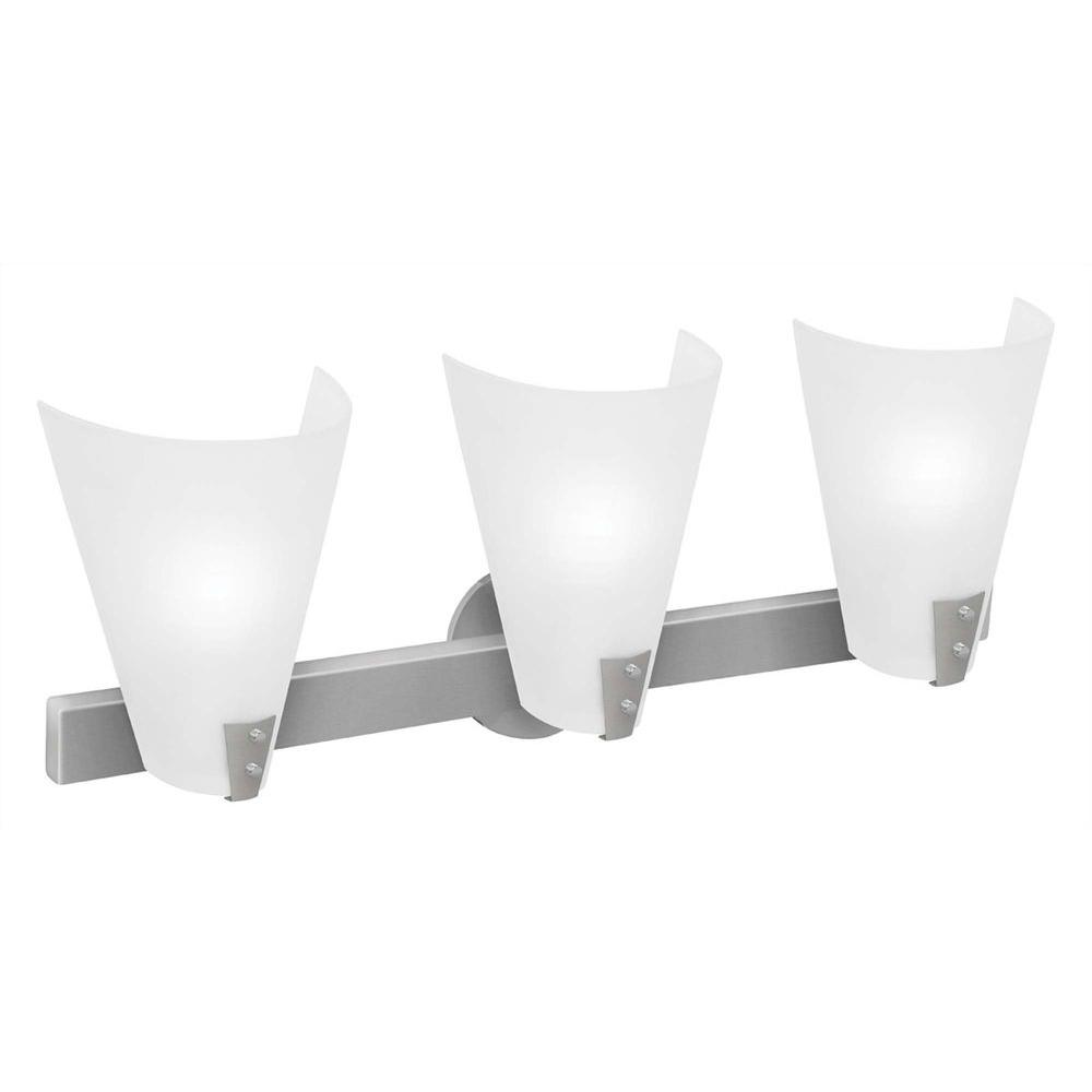 Access Lighting 3 Light Vanity Brushed Steel Finish Line Frosted Glass -DISCONTINUED