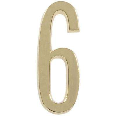 4 in. Distinctions Brass Plated Number 6