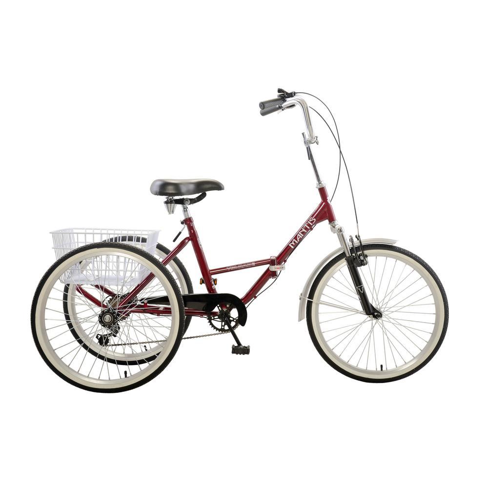 Mantis Tri-Rad 24 Burgundy Adult Folding Tricycle, Reds/P...