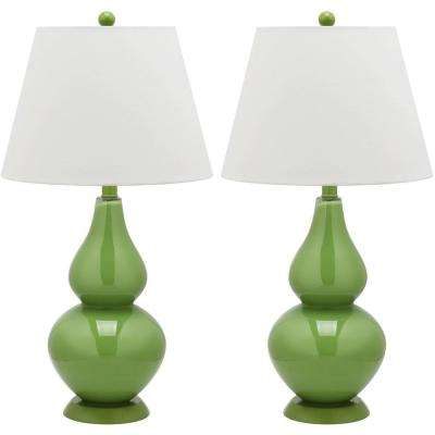 Green table lamps lamps the home depot cybil 265 in fern green double gourd glass aloadofball